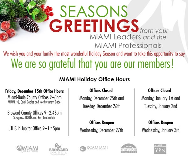 MIAMI Holiday Hours